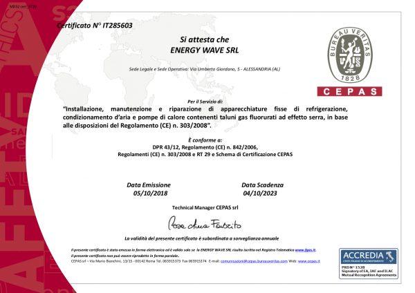 Certificato bureau veritas 303 2008 f gas energy wave srl