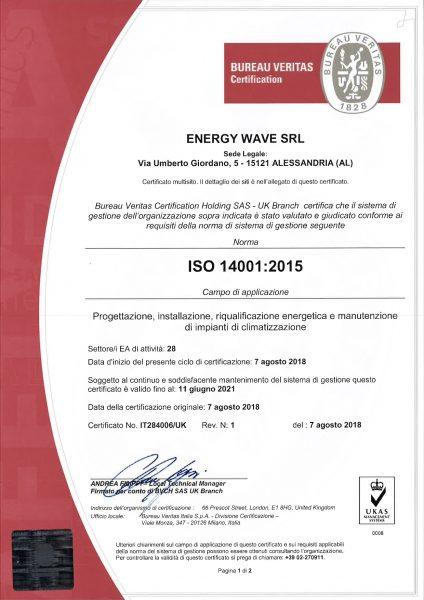 Certificato bureau veritas iso 14001 2015 energy wave srl
