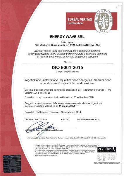 Certificato bureau veritas iso 9001 2015 energy wave srl